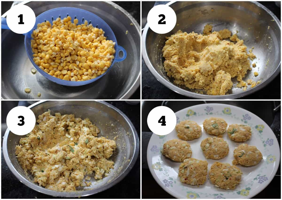 process shot to soak and grind batter for cabbage vadai
