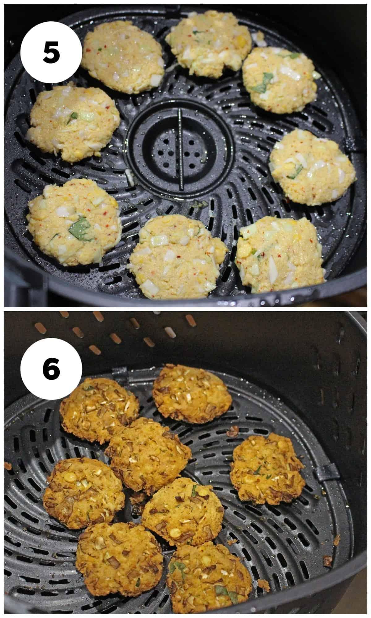 frying the lentil fritter in air fryer