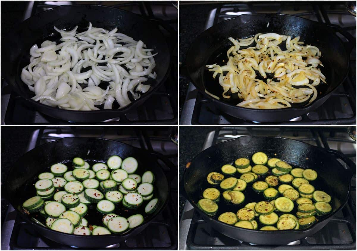 Onions and zucchini cooking in a cast iron pan