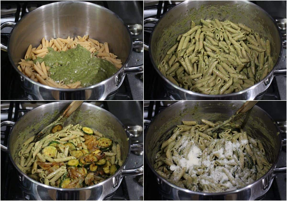 Process shot to make zucchini pesto pasta