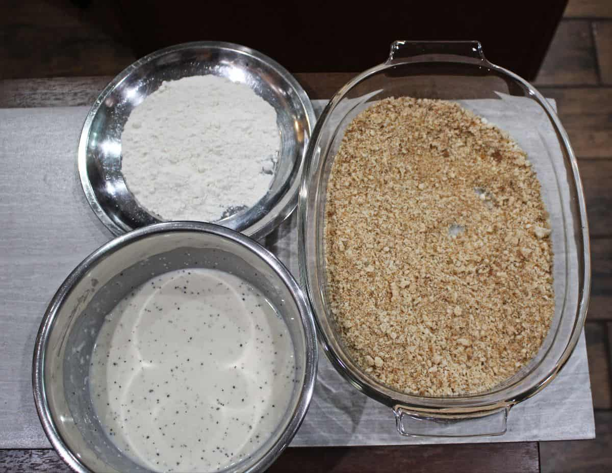 bread crumbs, flour and batter for breading