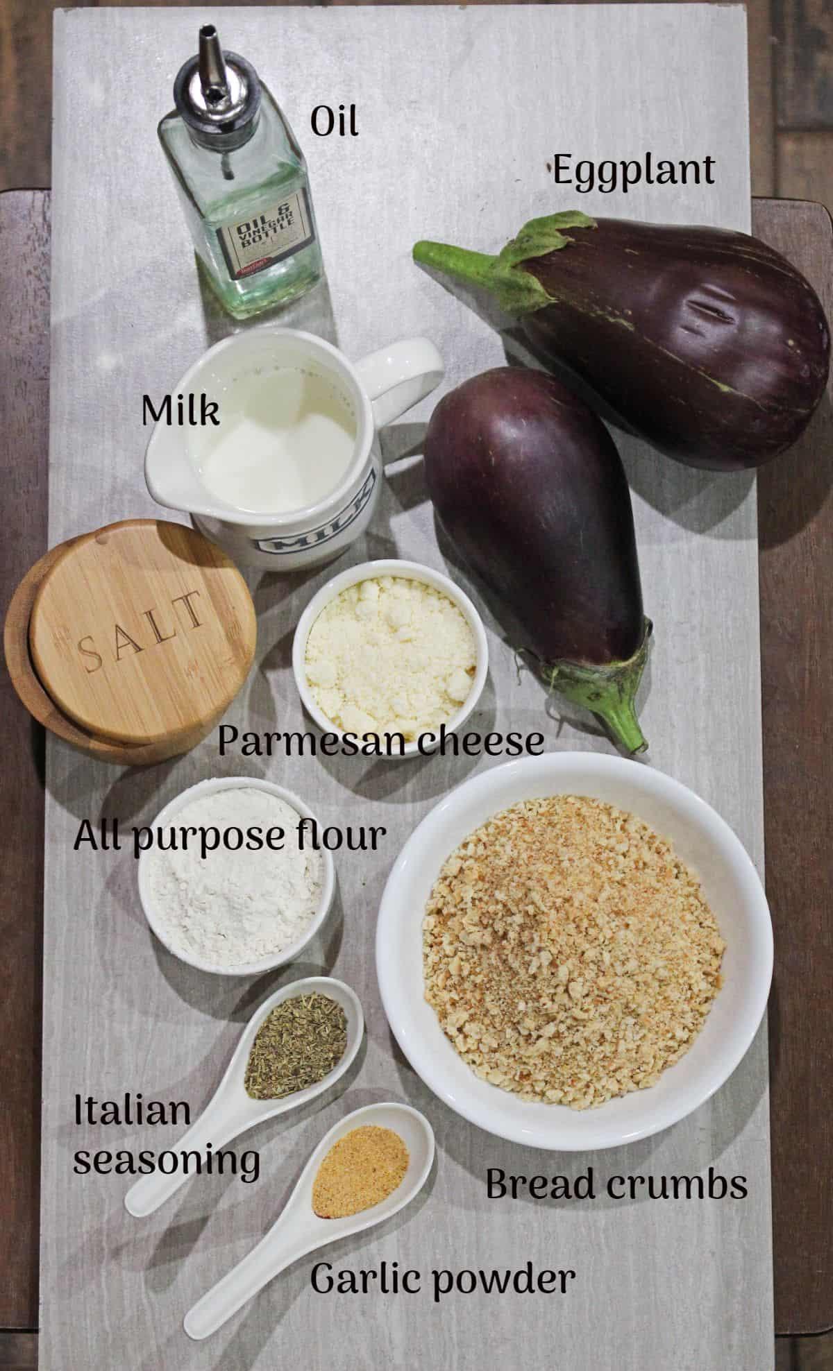 Ingredients needed to make eggplant cutlet