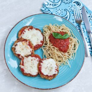 eggplant parmesan with pasta and tomato sauce