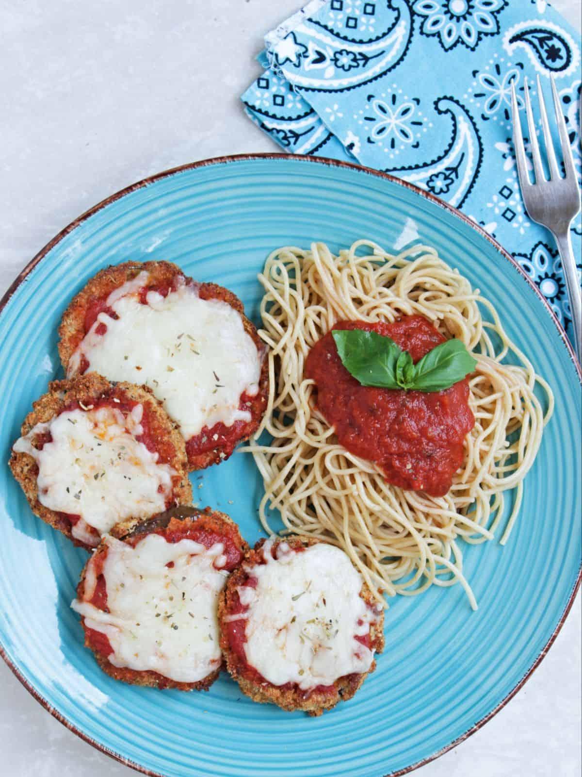 aubergine parmigiana with pasta