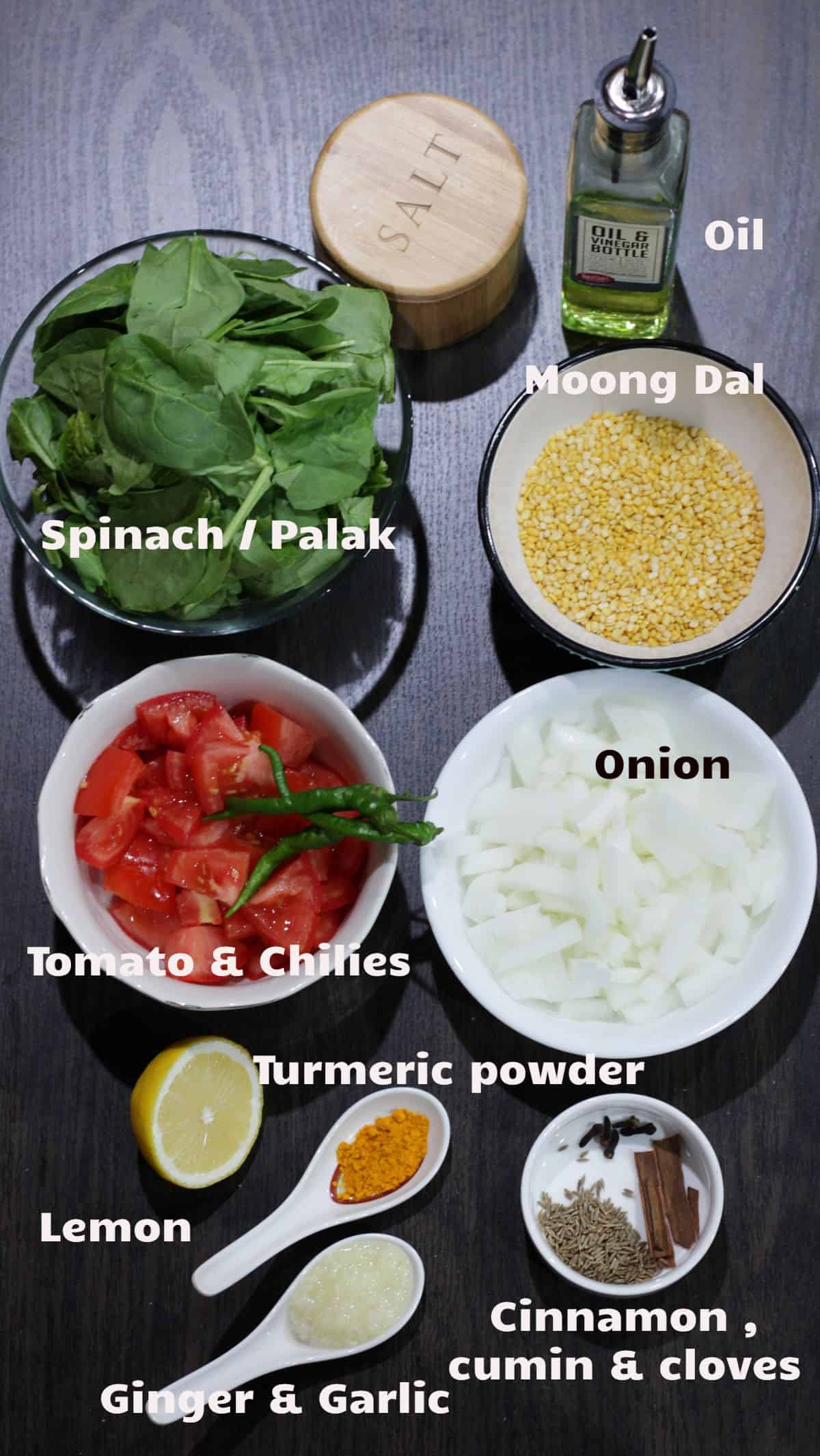 Ingredients labeled for dal palak