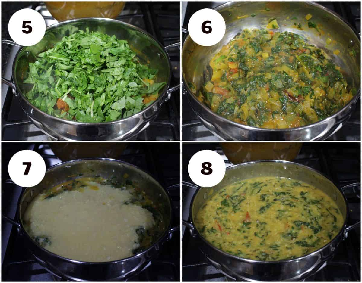 process shot for cooking spinach and dal.