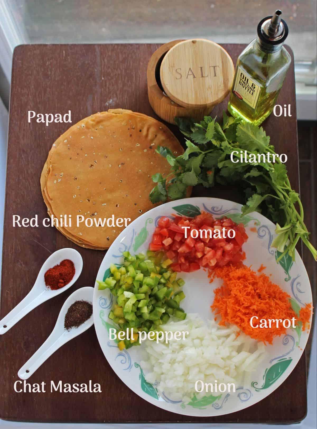 Ingredients needed to make masala papad