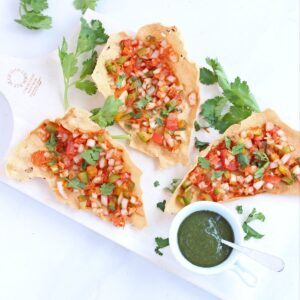 Masala papad with spicy vegetable topping