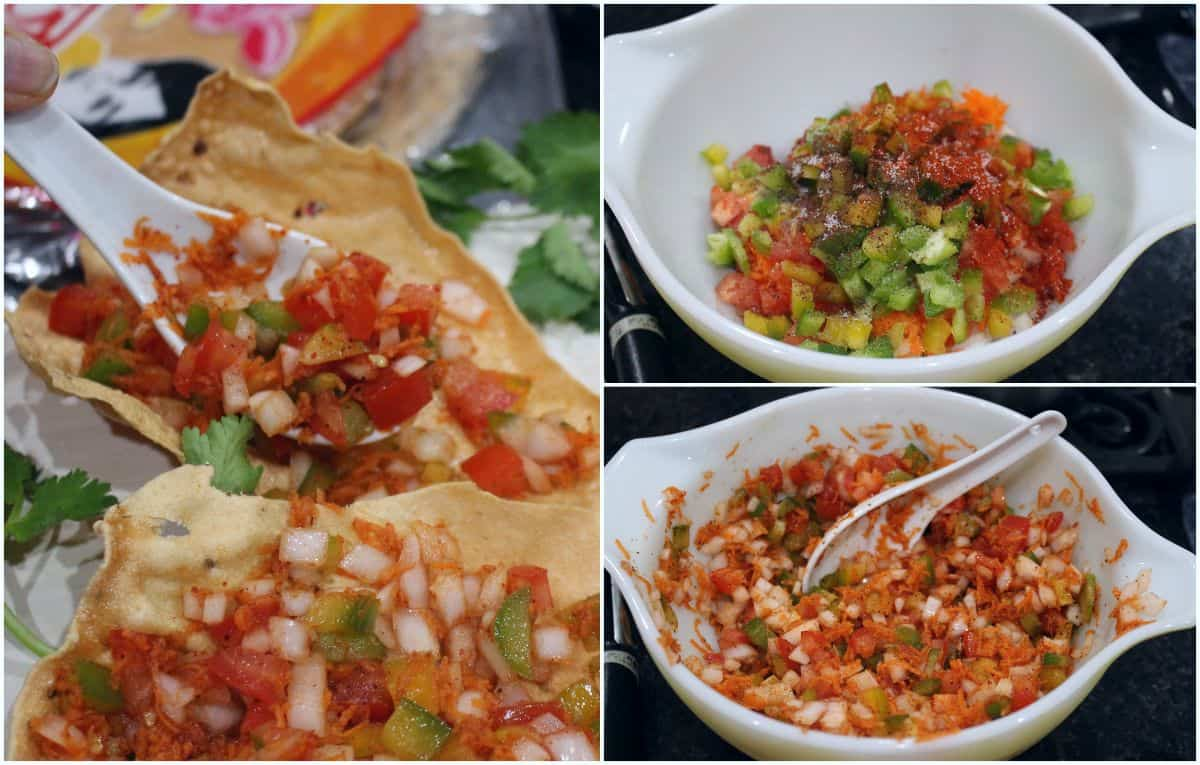 combining chopped vegetables in a bowl and topping it on papad