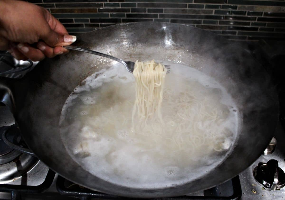 Cooking Noodles in a wok
