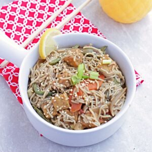 Thai Peanut Noodles in white bowl