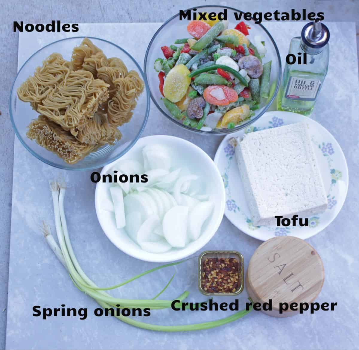 Ingredients needed to make Thai Noodles