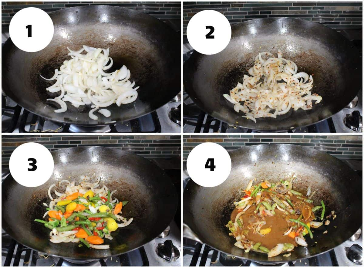 Process shot to stir fry vegetable in a wok