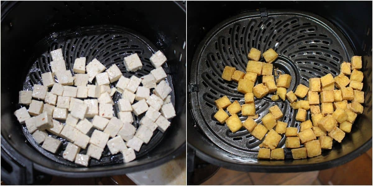 Frying tofu in air fryer